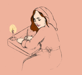 """""""Jo March"""" from Louisa May Alcott's """"Little Women""""; graphite drawing and digital color"""