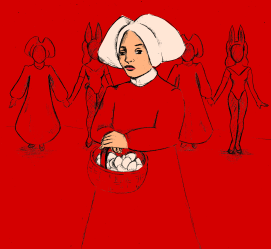 """""""Offred"""" from Margaret Atwood's """"The Handmaid's Tale""""; graphite drawing and digital color"""