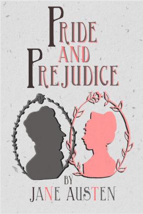 """Pride and Prejudice"" book cover design; ink drawings, digital color"