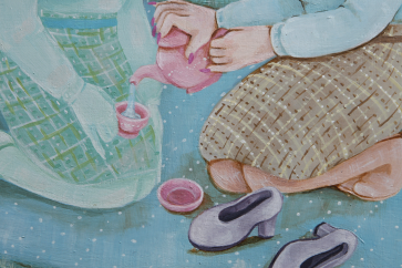 """Serving Tea To My Double"" (Detail); 11x14"", acrylic on hardboard, 2016"